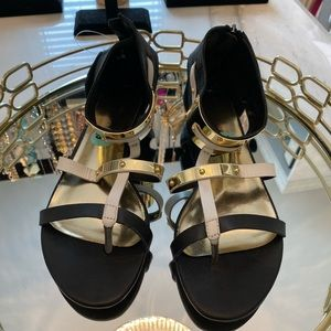 BNWT black, white and gold sandals